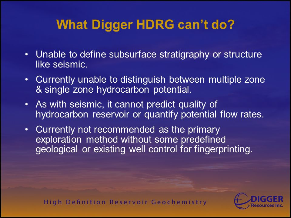 What Digger HDRG can't do