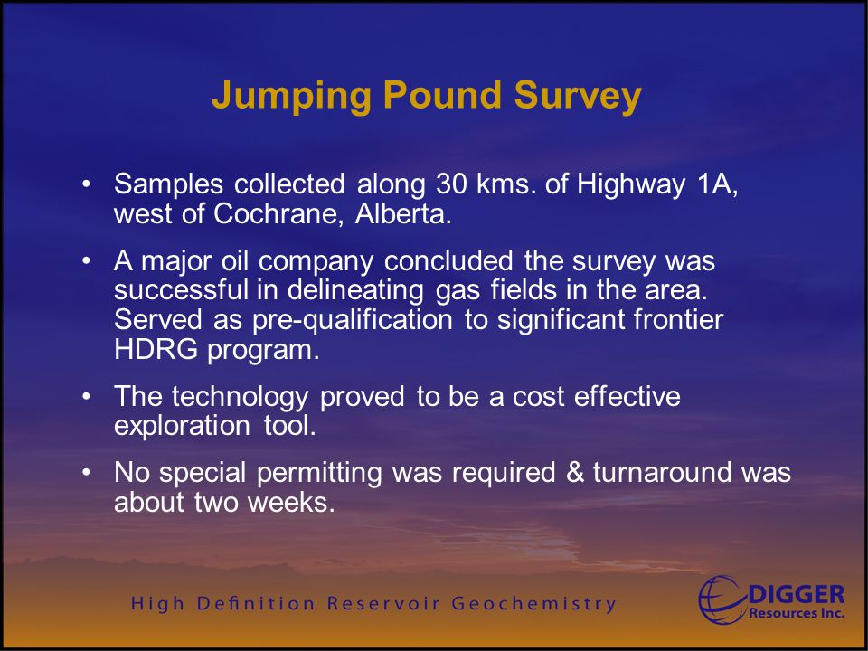 Digger Resources Inc. Jumping Pound Survey. Samples collected along 30 kms. of Highway 1A, west of Cochrane, Alberta.