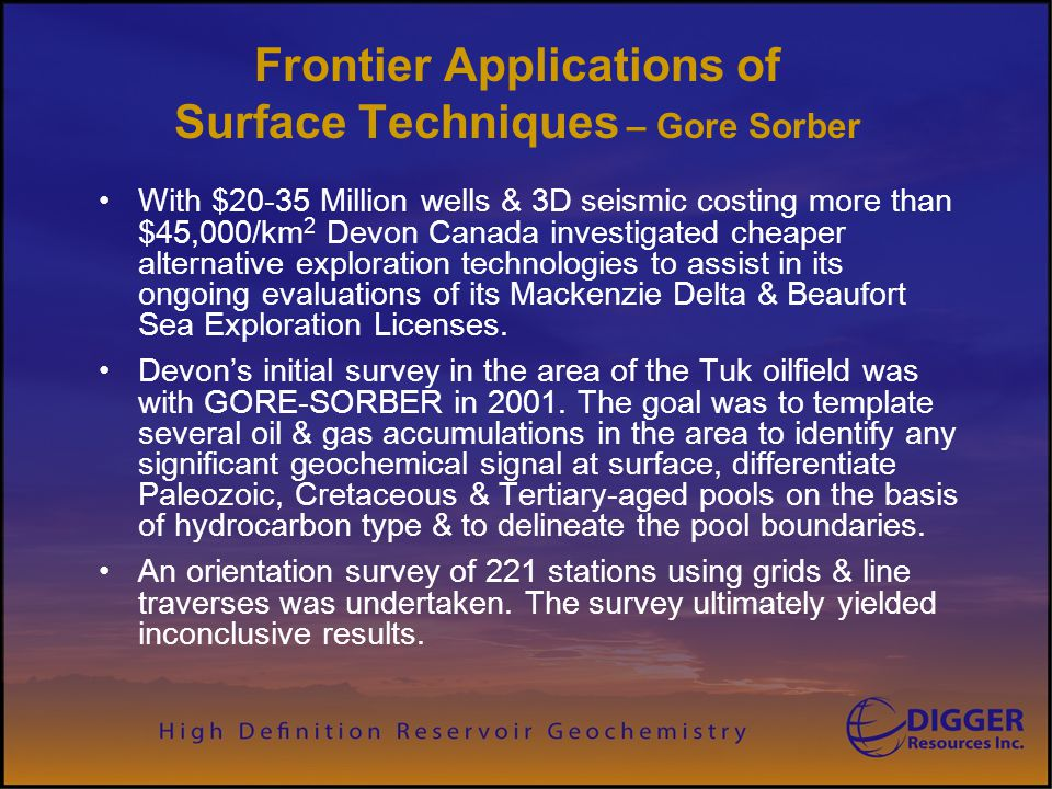 Frontier Applications of Surface Techniques – Gore Sorber