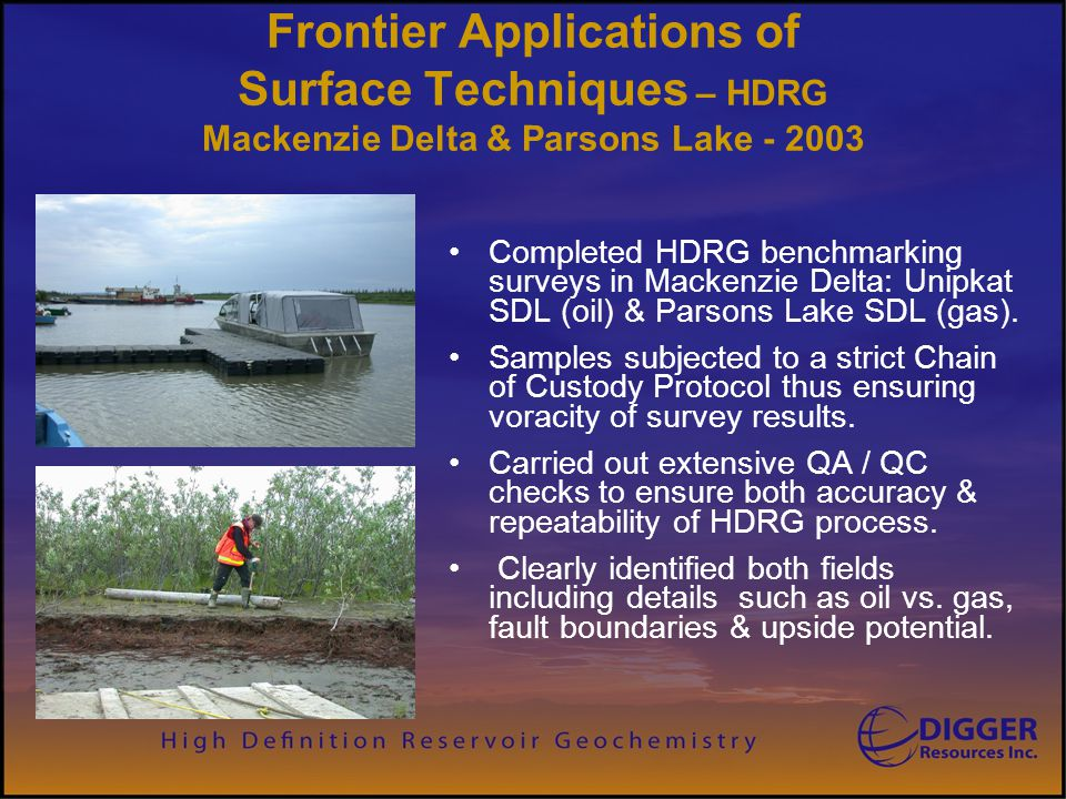 Digger Resources Inc. Frontier Applications of Surface Techniques – HDRG Mackenzie Delta & Parsons Lake - 2003.