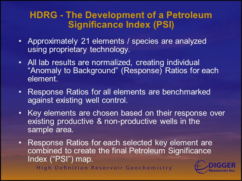 HDRG - The Development of a Petroleum Significance Index (PSI)