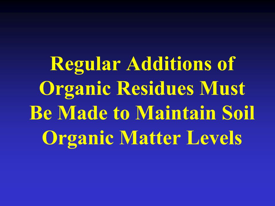 Regular Additions of Organic Residues Must Be Made to Maintain Soil Organic Matter Levels
