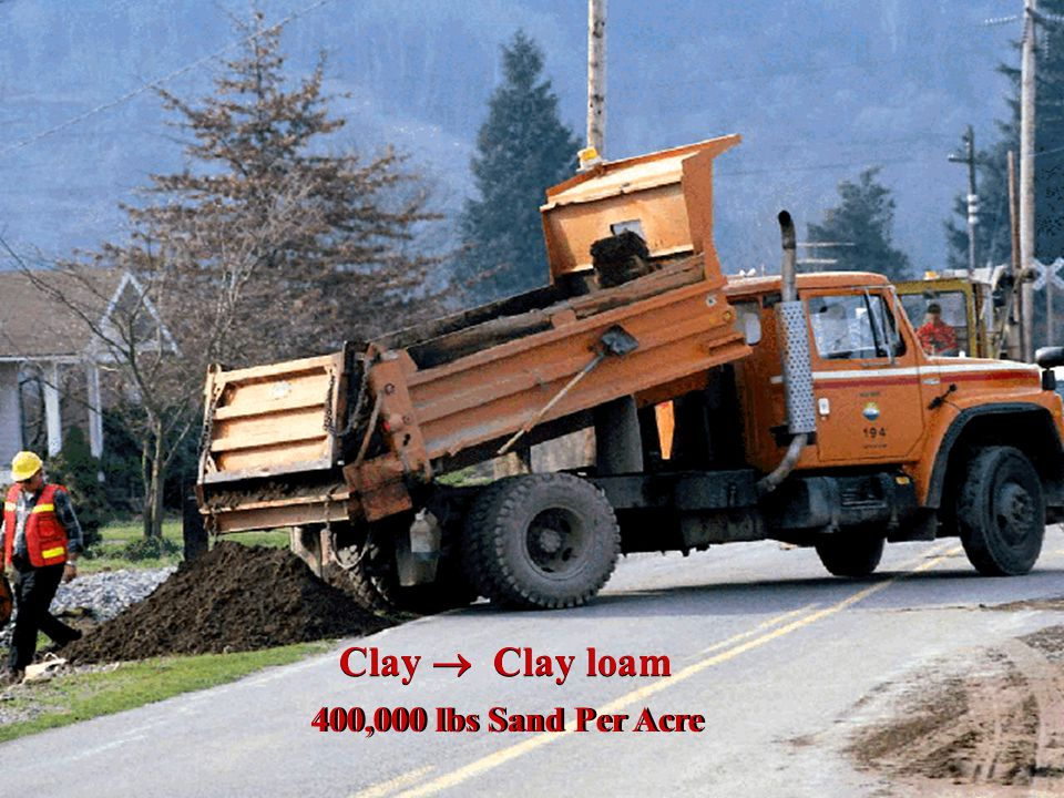 Clay  Clay loam 400,000 lbs Sand Per Acre