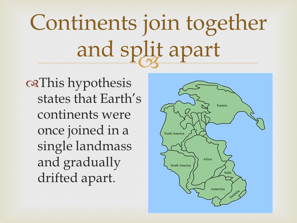 Continents join together and split apart