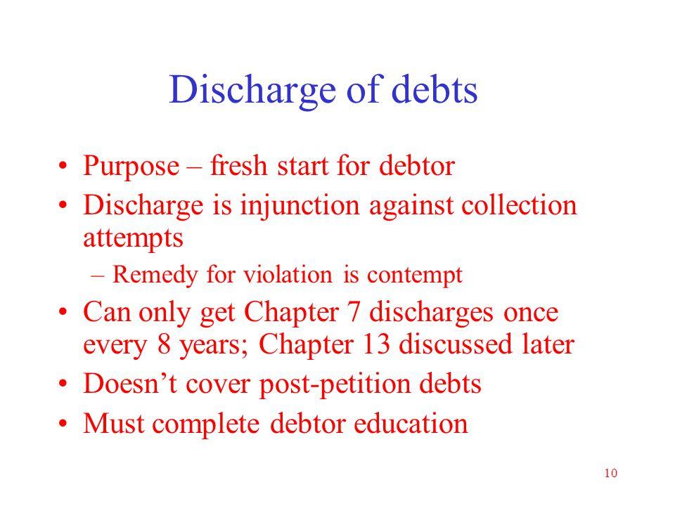 Discharge of debts Purpose – fresh start for debtor