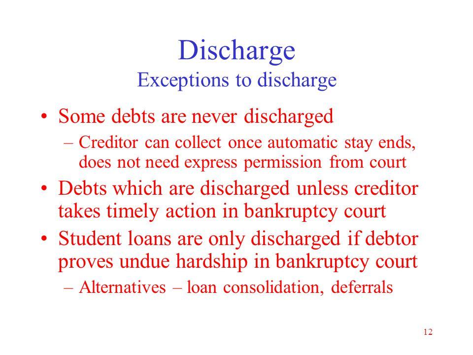 Discharge Exceptions to discharge