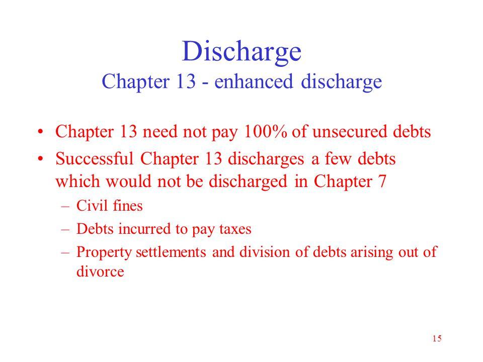 Discharge Chapter 13 - enhanced discharge