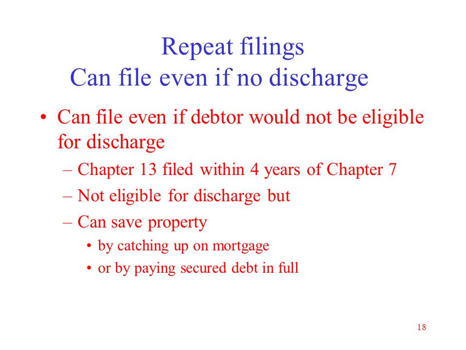 Repeat filings Can file even if no discharge