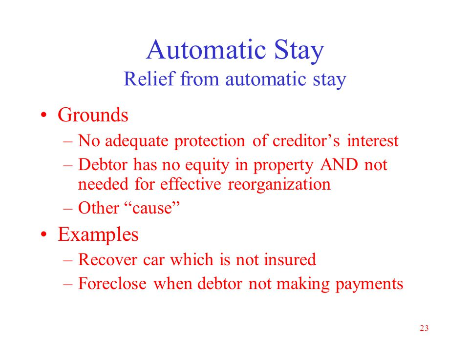 Automatic Stay Relief from automatic stay
