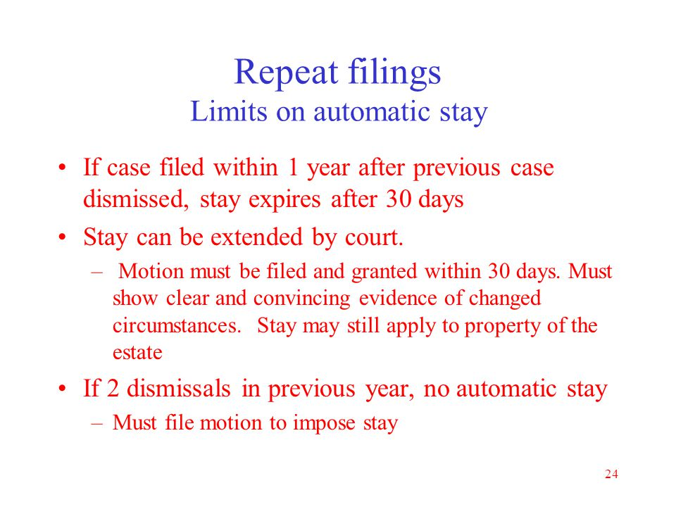 Repeat filings Limits on automatic stay