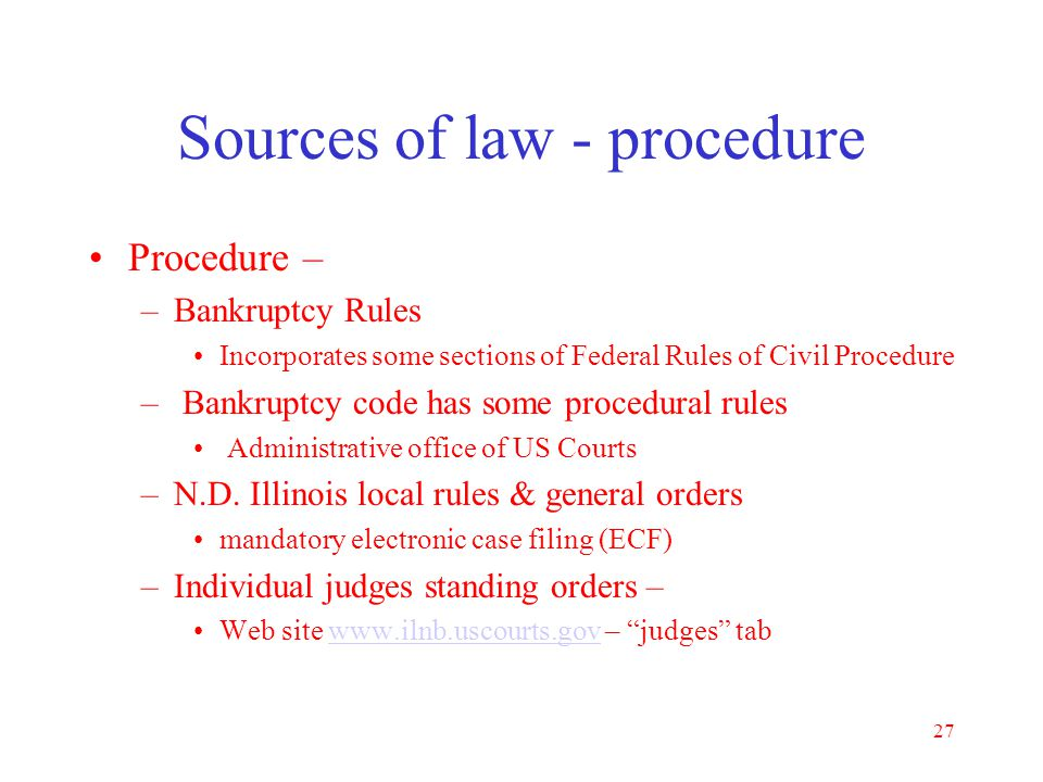 Sources of law - procedure