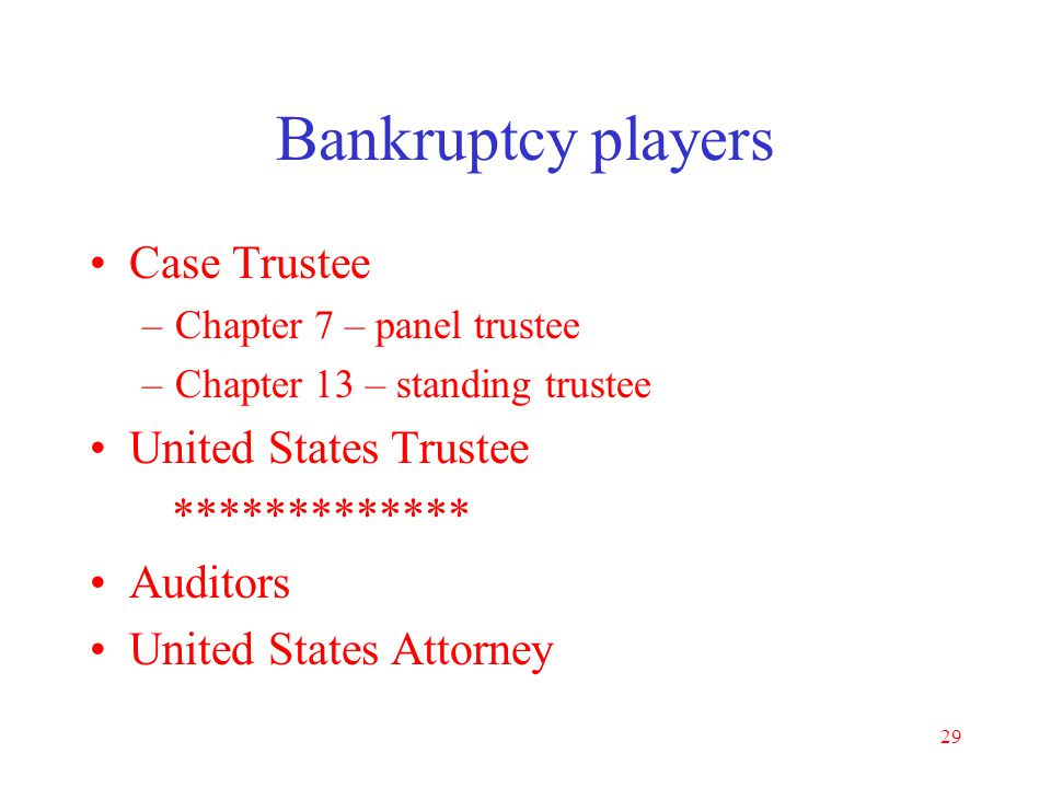 Bankruptcy players Case Trustee United States Trustee *************