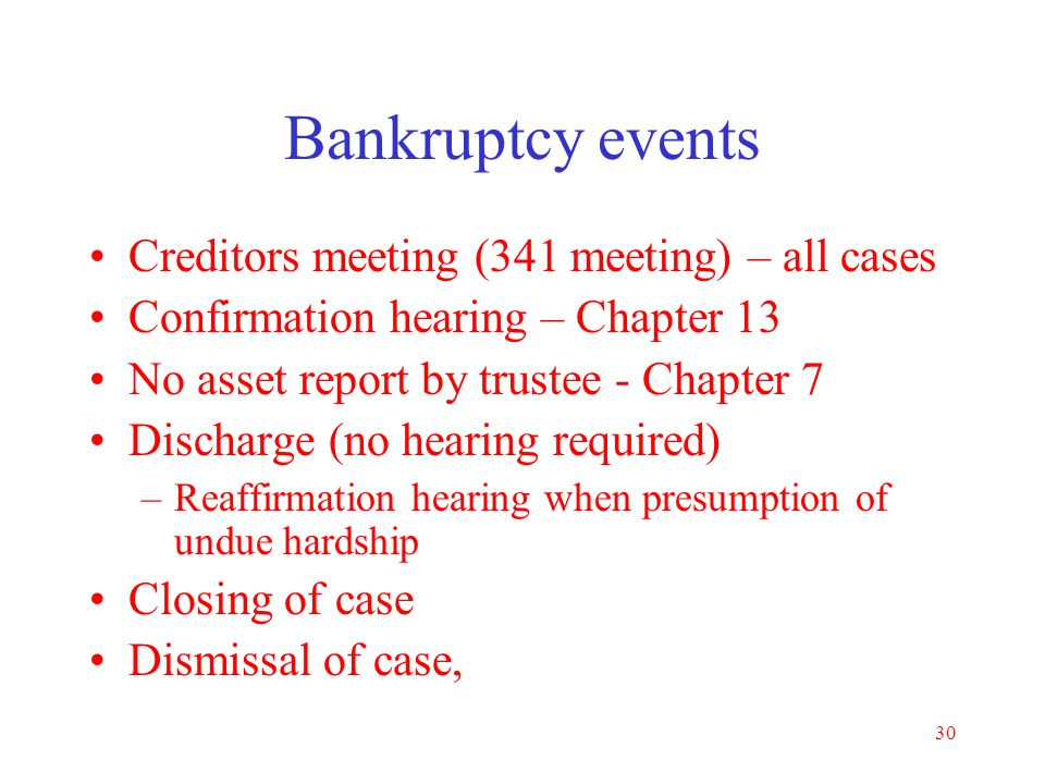 Bankruptcy events Creditors meeting (341 meeting) – all cases
