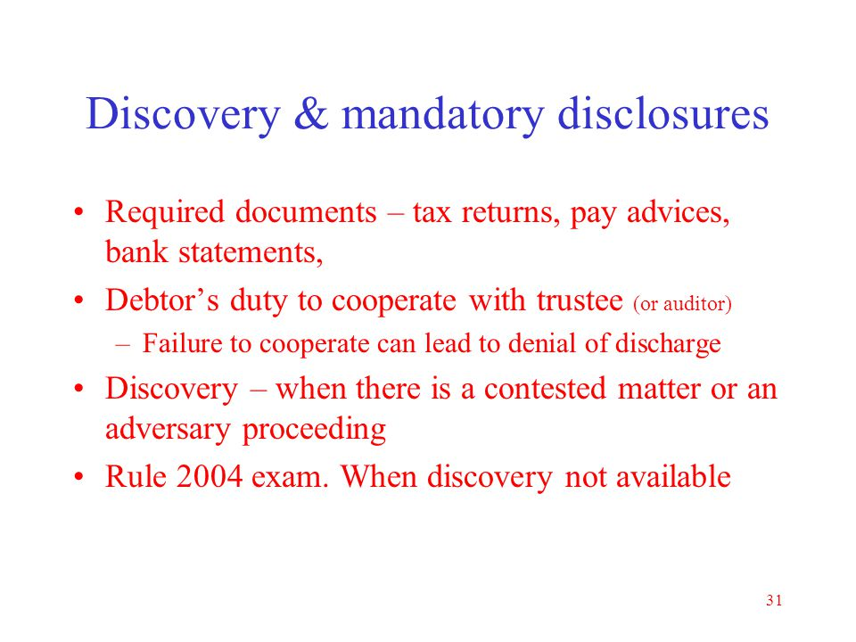 Discovery & mandatory disclosures