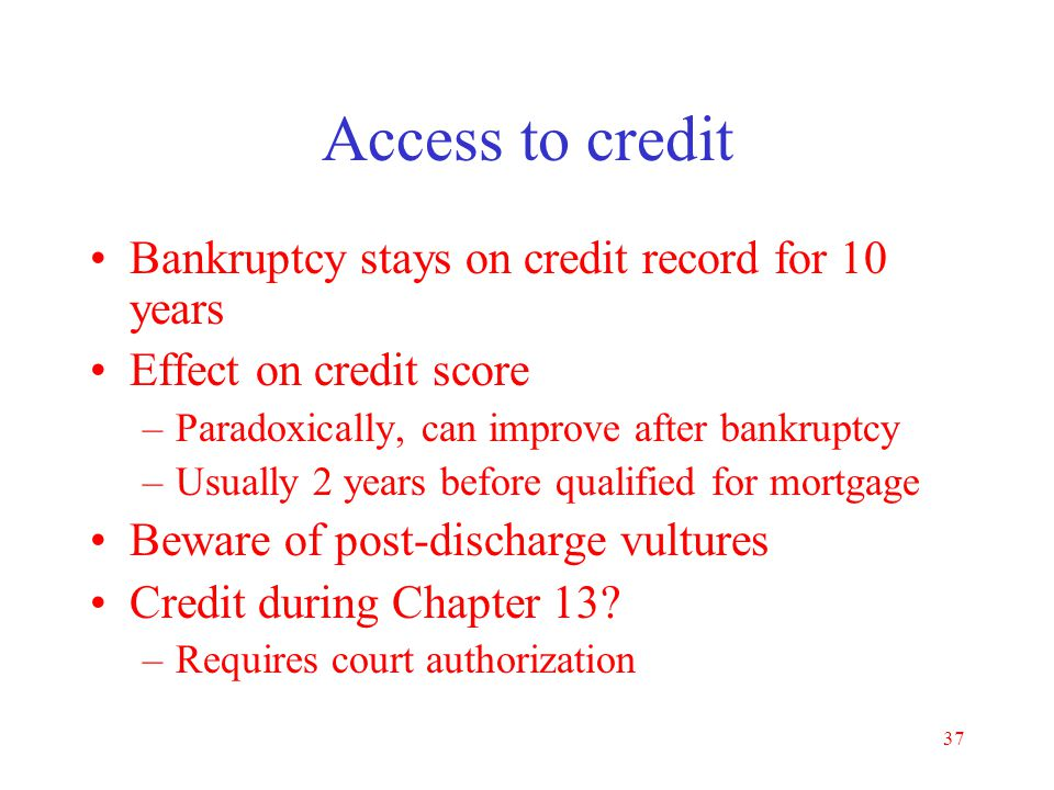 Access to credit Bankruptcy stays on credit record for 10 years