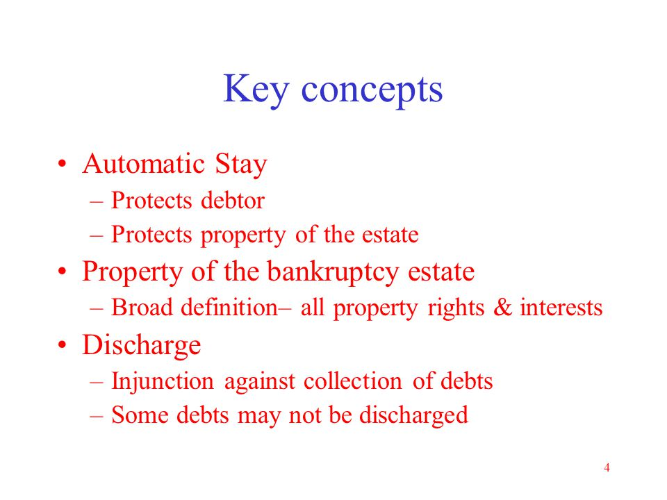 Key concepts Automatic Stay Property of the bankruptcy estate