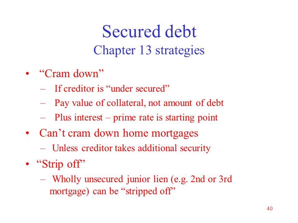 Secured debt Chapter 13 strategies