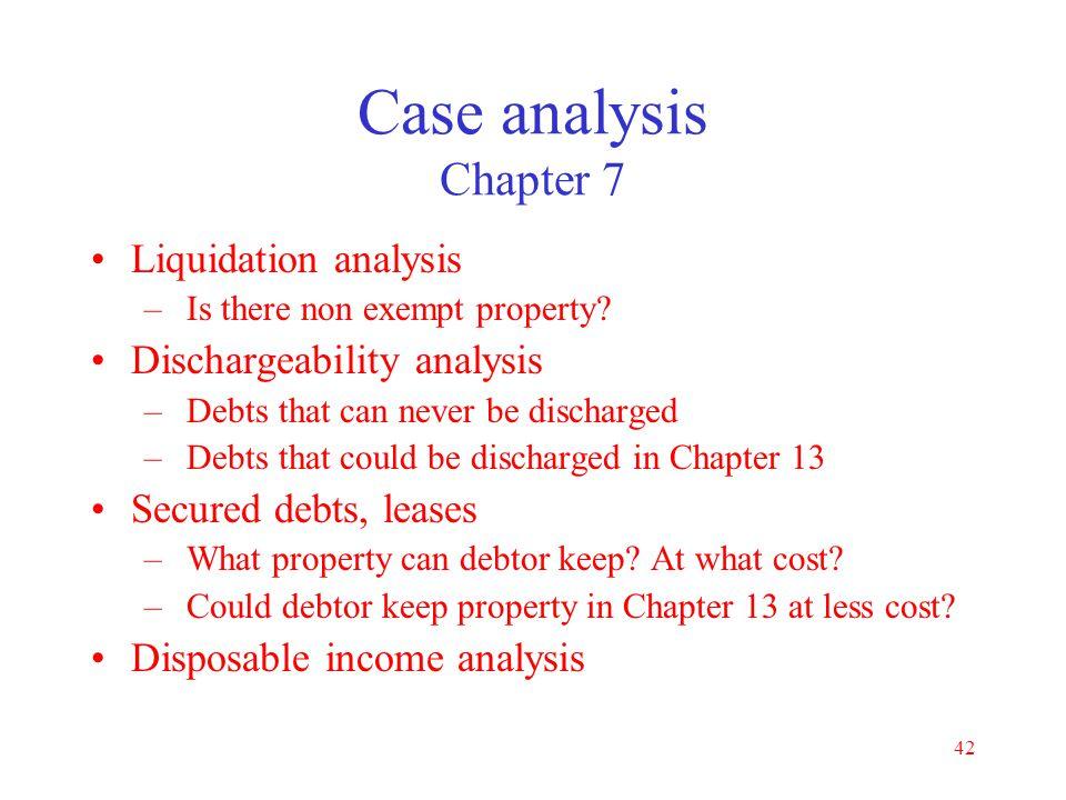 Case analysis Chapter 7 Liquidation analysis Dischargeability analysis
