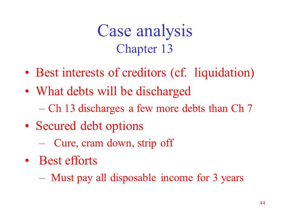 Case analysis Chapter 13 Best interests of creditors (cf. liquidation)