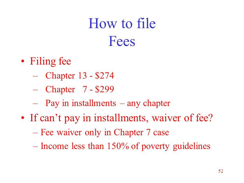 How to file Fees Filing fee