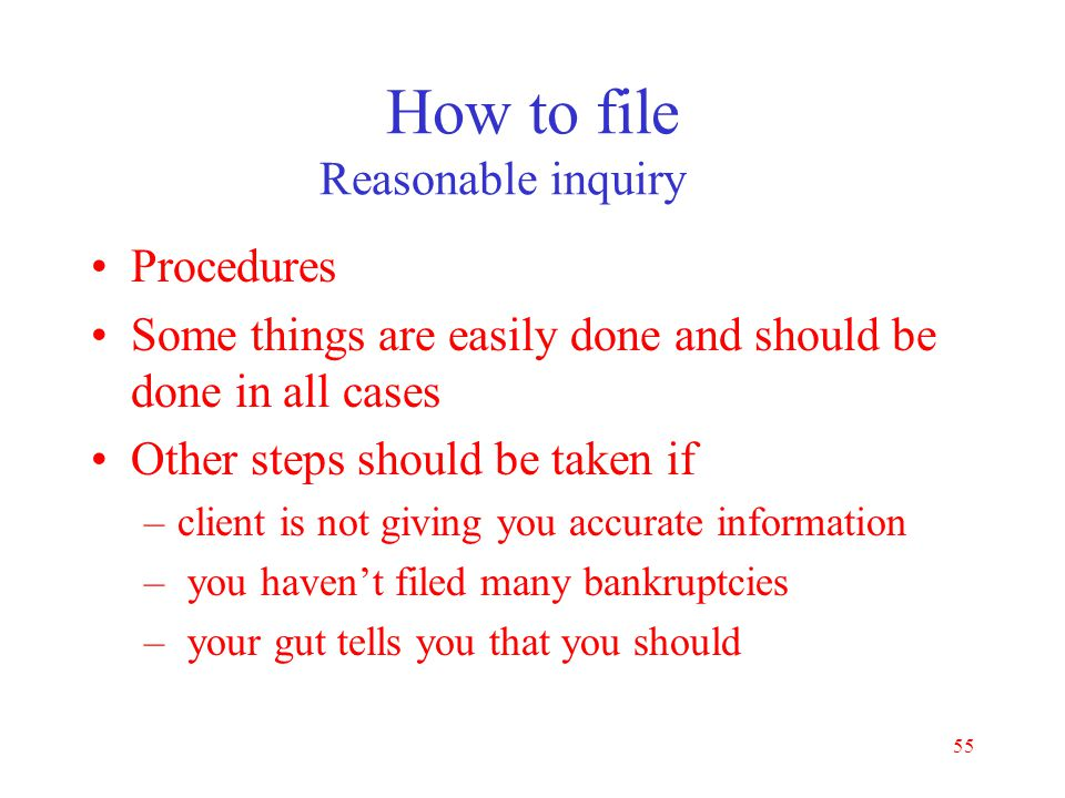 How to file Reasonable inquiry