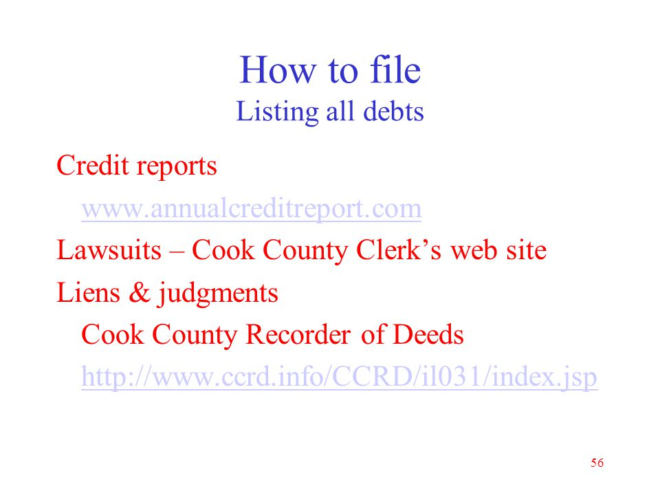 How to file Listing all debts