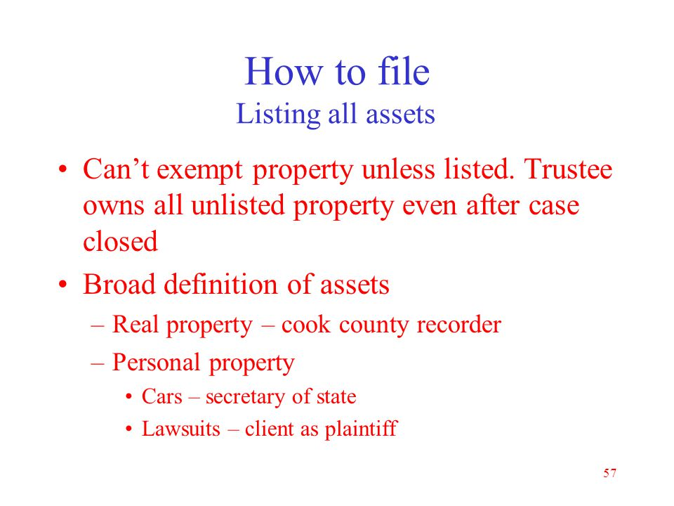 How to file Listing all assets