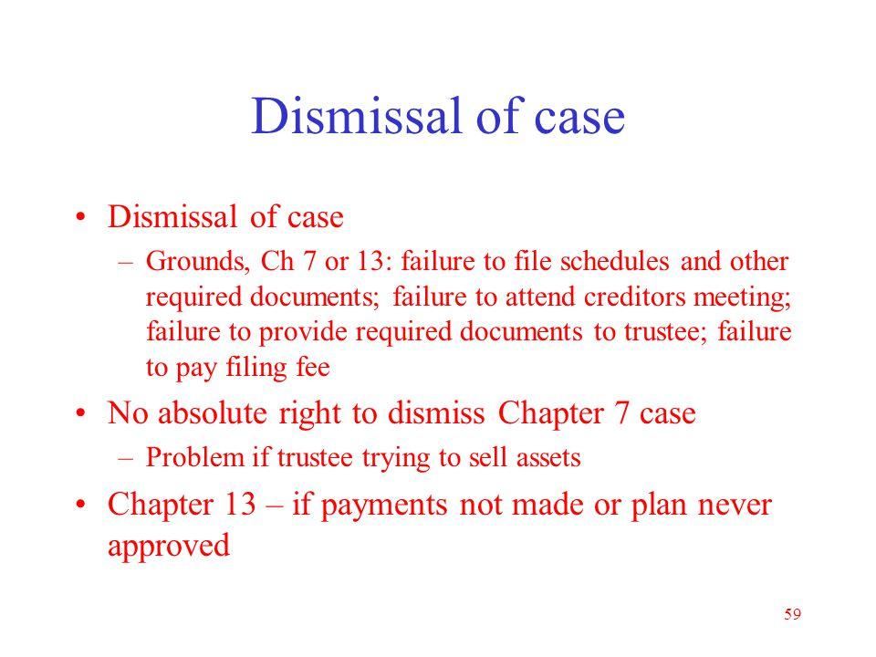 Dismissal of case Dismissal of case