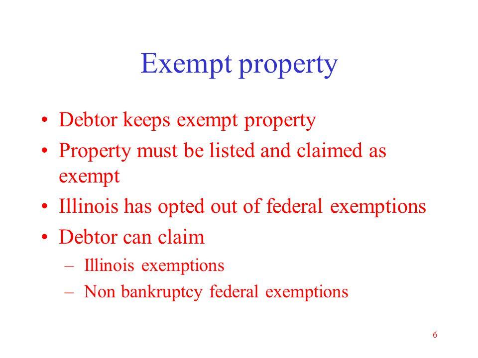 Exempt property Debtor keeps exempt property