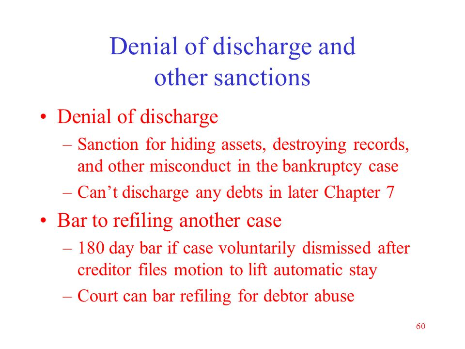 Denial of discharge and other sanctions
