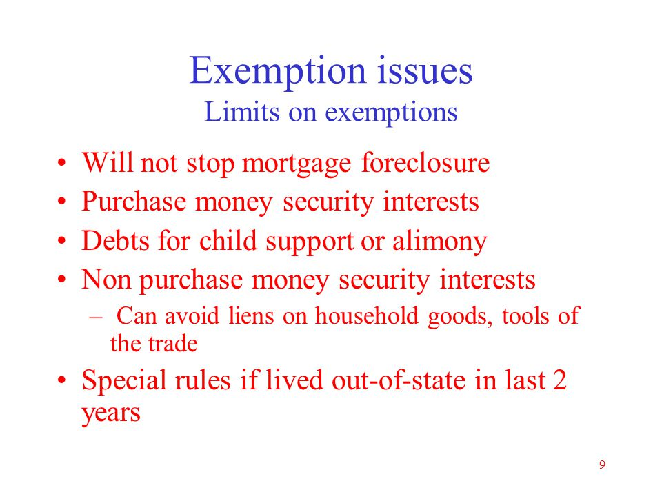 Exemption issues Limits on exemptions