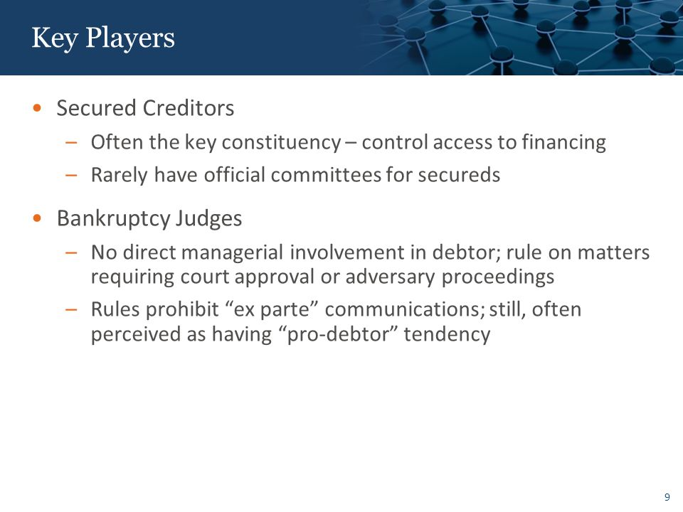 Key Players US Trustee: Intended as a Watchdog Governmental Appointees