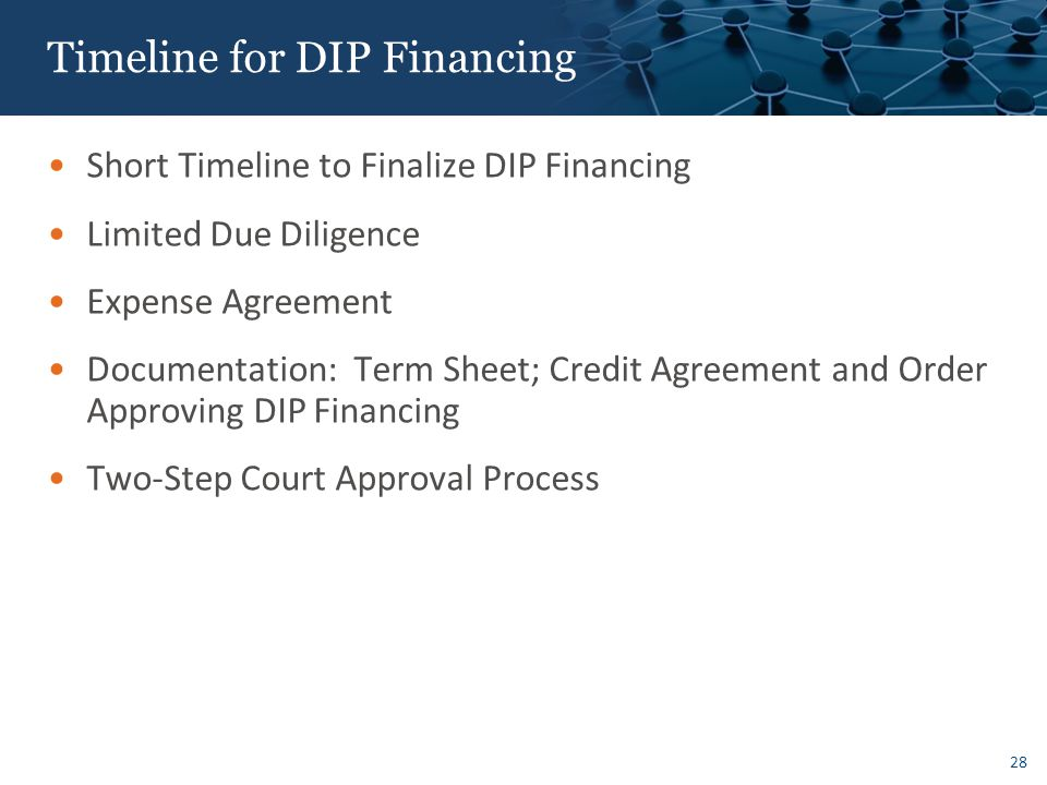 Timeline for DIP Financing