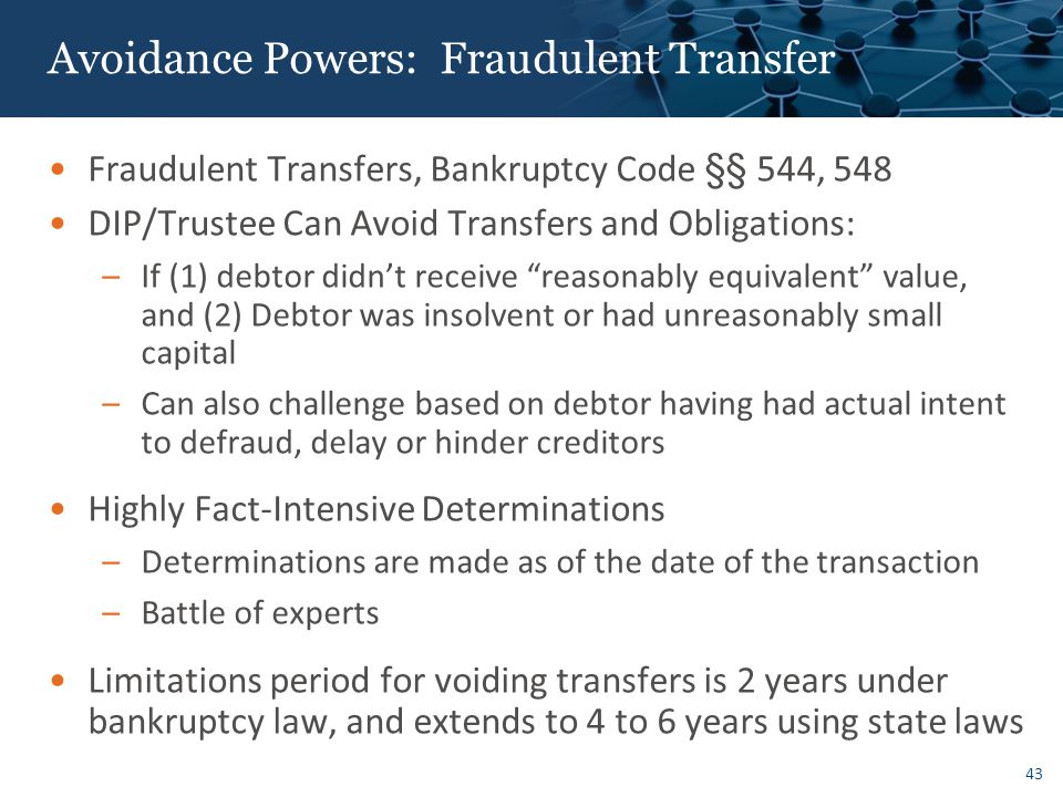 Avoidance Powers: Fraudulent Transfer
