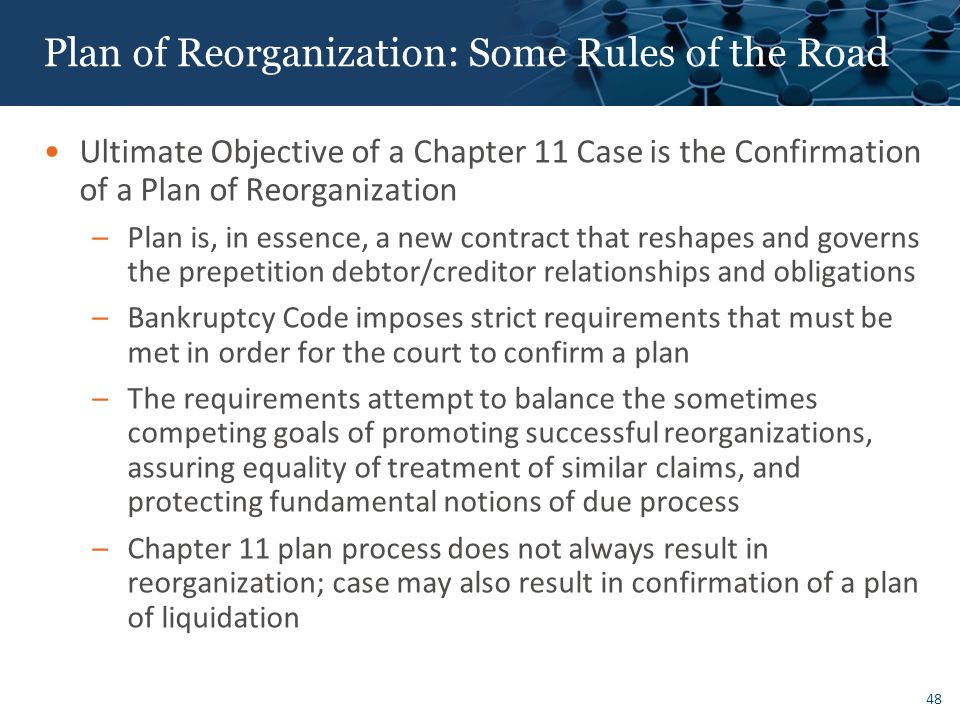 Plan of Reorganization: Some Rules of the Road