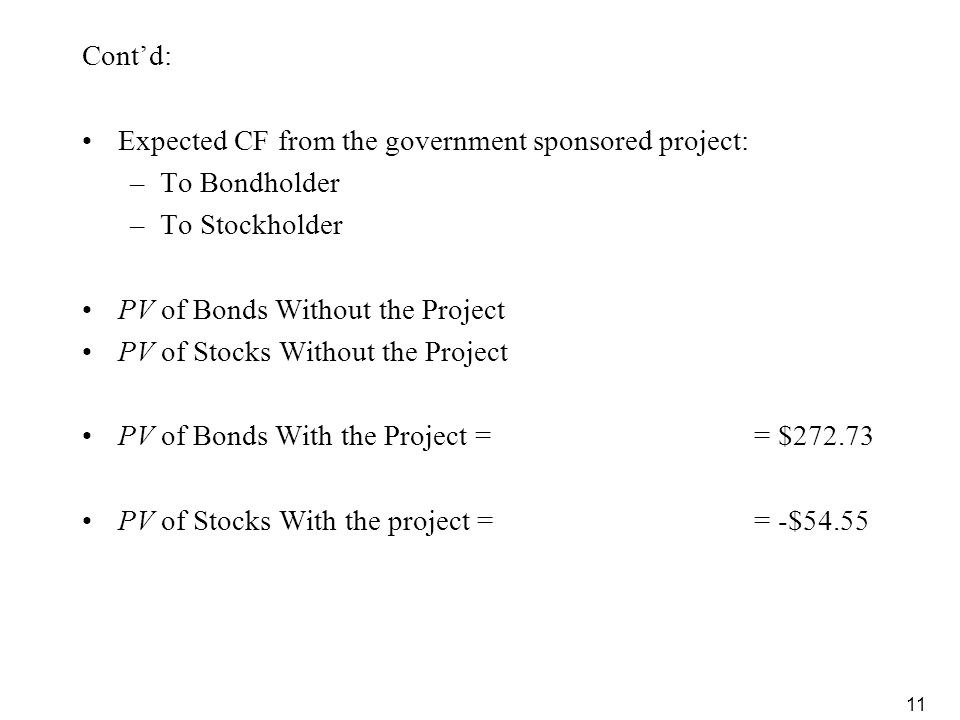 Cont'd: Expected CF from the government sponsored project: To Bondholder. To Stockholder. PV of Bonds Without the Project.