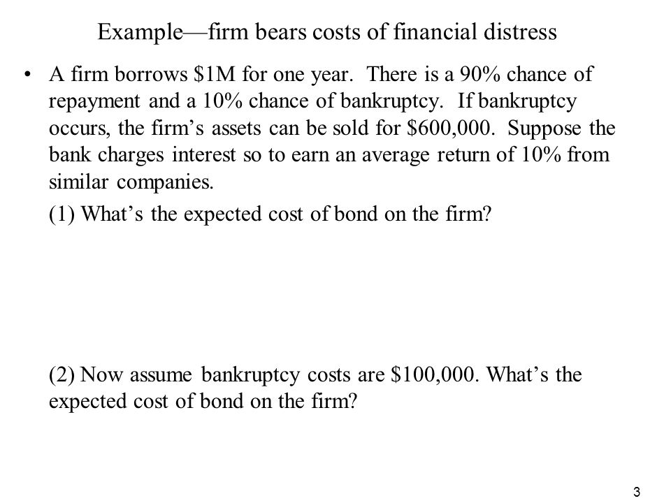 Example—firm bears costs of financial distress