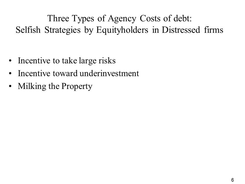 Three Types of Agency Costs of debt: Selfish Strategies by Equityholders in Distressed firms