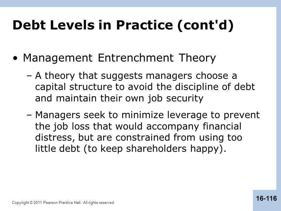 Debt Levels in Practice (cont d)
