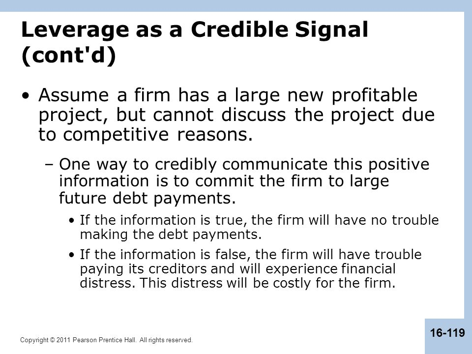 Leverage as a Credible Signal (cont d)