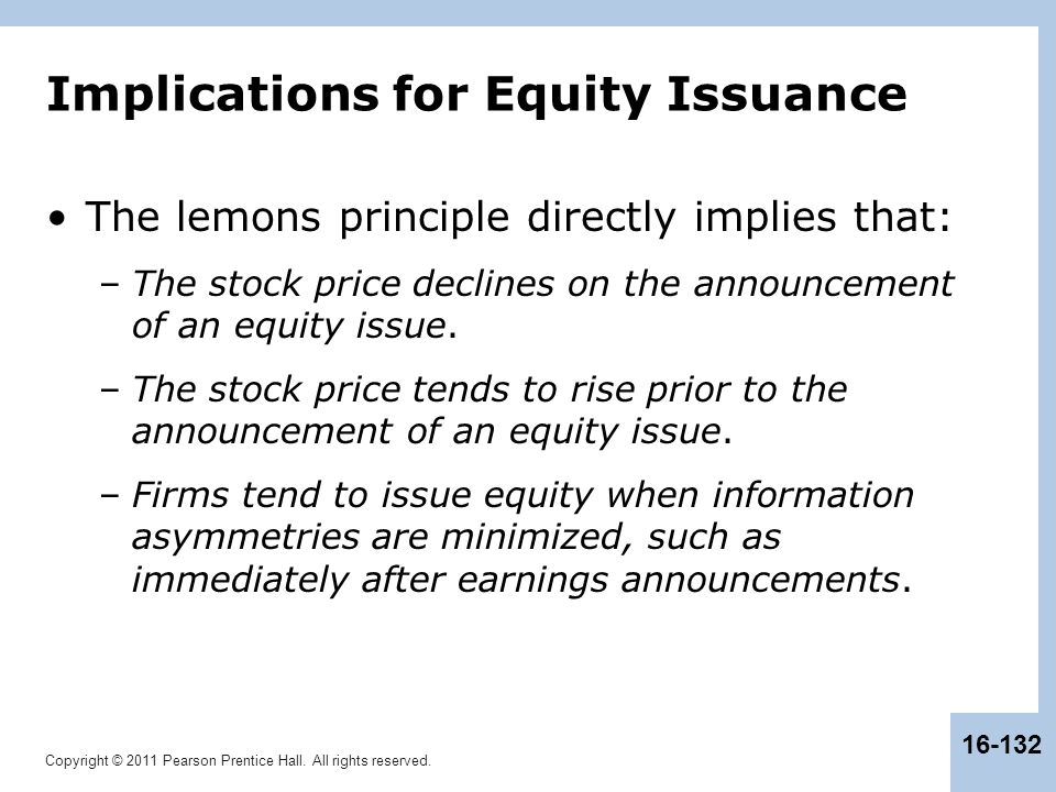 Implications for Equity Issuance