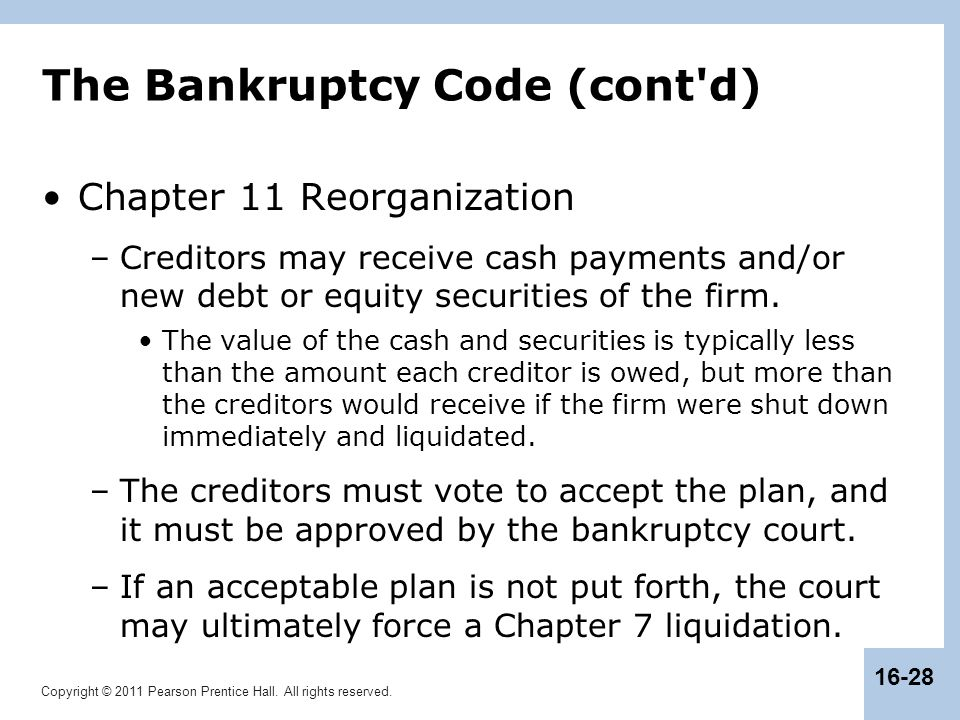 The Bankruptcy Code (cont d)