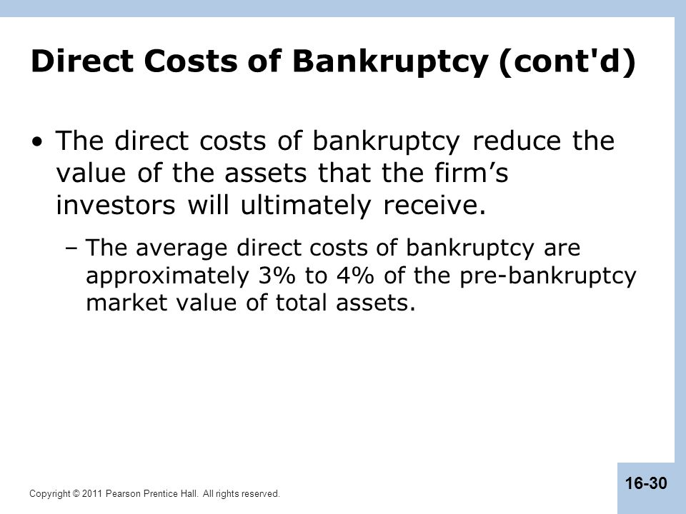 Direct Costs of Bankruptcy (cont d)