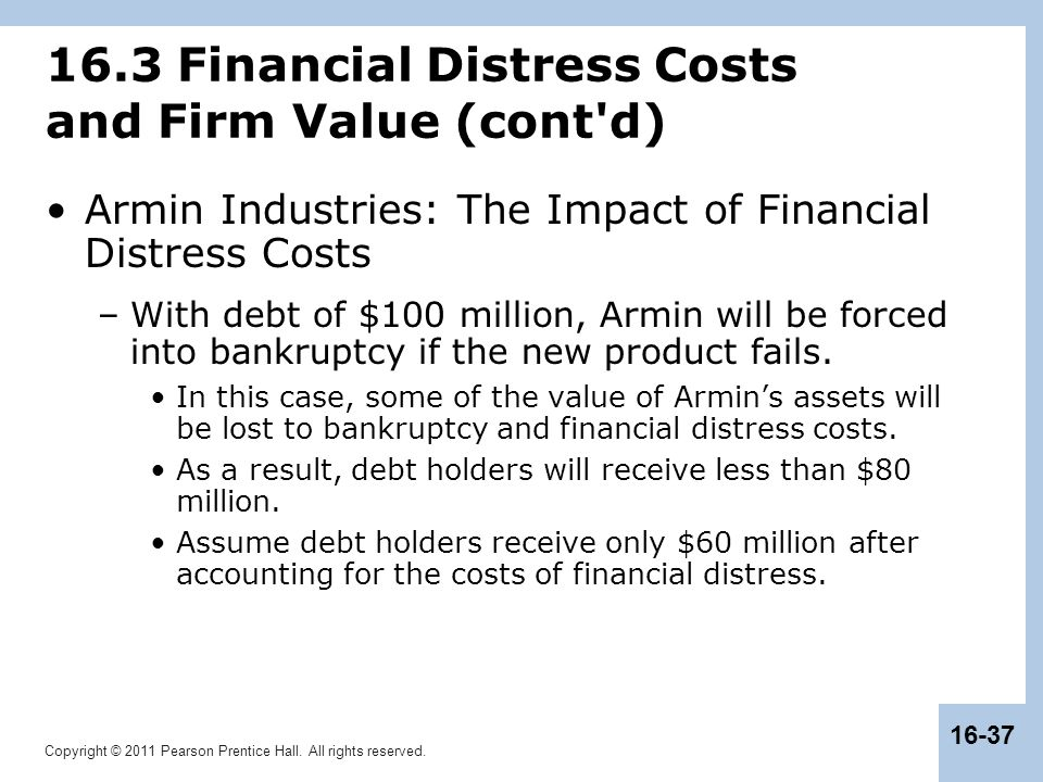 16.3 Financial Distress Costs and Firm Value (cont d)