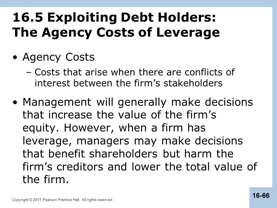 16.5 Exploiting Debt Holders: The Agency Costs of Leverage