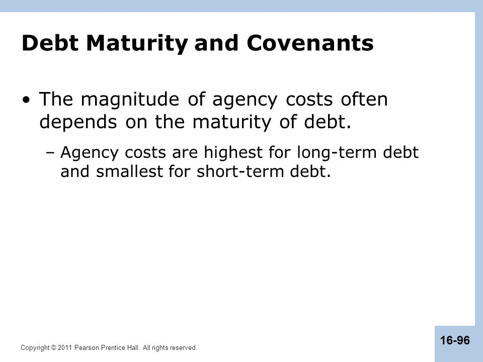 Debt Maturity and Covenants