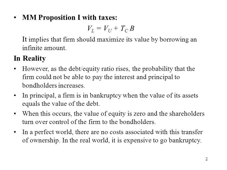MM Proposition I with taxes: VL = VU + TC B
