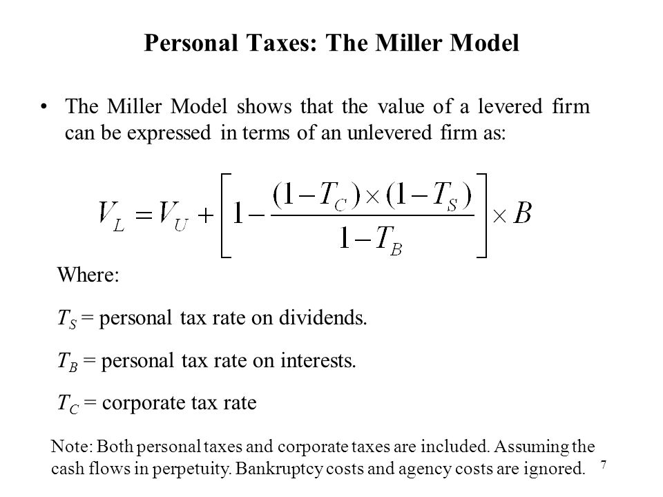 Personal Taxes: The Miller Model
