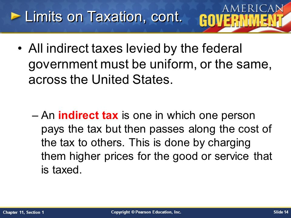 Limits on Taxation, cont.