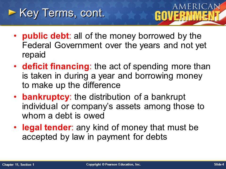 Key Terms, cont. public debt: all of the money borrowed by the Federal Government over the years and not yet repaid.